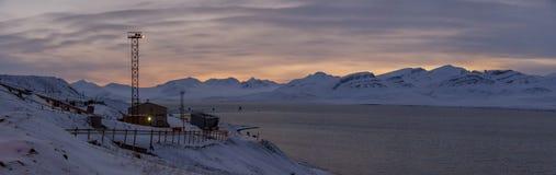Barentsburg -卑尔根群岛的俄国村庄 图库摄影