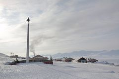 Barentsburg - cidade ártica do russo em Svalbard Imagem de Stock