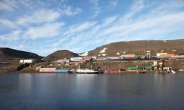 Barentsburg - coal mining village in Svalbard Royalty Free Stock Photo
