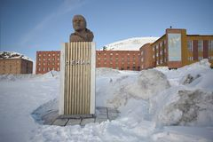 Barentsburg - Lenin monument Royalty Free Stock Photography