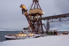 Barentsburg port  - Russian village on Spitsbergen Stock Images