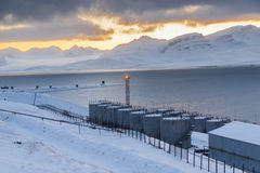 Barentsburg port  - Russian village on Spitsbergen Royalty Free Stock Photography