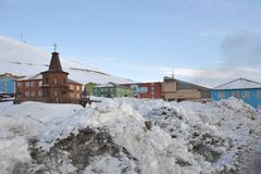 Barentsburg - Russian city in the Arctic Royalty Free Stock Photos