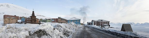 Barentsburg - Russian city in the Arctic, PANORAMA Royalty Free Stock Image