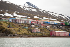 Barentsburg, Russian settlement in Svalbard, Norway. Barentsburg from the sea, Russian settlement in Svalbard, Norway Royalty Free Stock Image