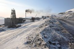 Barentsburg - russische Stadt in der Arktis Stockfotos
