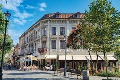 Bares e restaurantes na cidade velha de Bucareste fotografia de stock royalty free