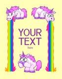 Barfing unicorns decorative frame Stock Photography