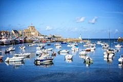 Barfleur: Fishing boats in the harbour of Barfleur in Normandy, France stock photography