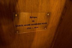 Relic of St. Mary Magdalene Postel in the Church of St. Nicholas in Barfleur. Normandy, France royalty free stock image