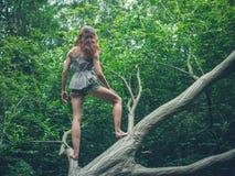 Barfota anseende för ung kvinna på stupat träd Royaltyfri Bild