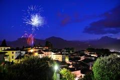 Barga lucca tuscany italy  fireworks Royalty Free Stock Photo