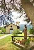 Barga molognotuscany Italien san pio staty royaltyfri foto