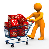 Bargain. Orange cartoon character goes shopping and saves costs Stock Image