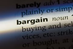 Bargain. Word in a dictionary.  concept royalty free stock photos