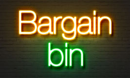 Bargain bin neon sign on brick wall background. Bargain bin neon sign on brick wall background Royalty Free Stock Images