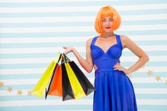 It is bargain. Fashion. Black Friday sales. happy woman go shopping. Happy shopping online. Happy holidays. Crazy girl. With shopping bags. Last preparations royalty free stock photo
