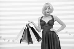 It is bargain. Fashion. Black Friday sales. happy woman go shopping. Happy shopping online. Happy holidays. Crazy girl. With shopping bags. Last preparations royalty free stock photography