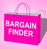 Bargain Finder Displays Internet Comparison 3d Illustration. Bargain Finder Bag Displays Internet Comparison 3d Illustration Stock Photo
