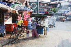Bargata - i stadens centrum Siem Reap, Cambodja Arkivbild