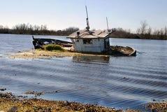 barge заболоченный рукав реки Стоковое Фото