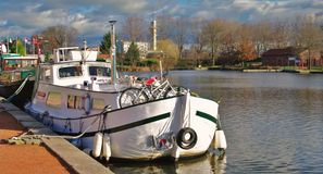 Barge. White barge in the roanne port in france in winter Royalty Free Stock Photos