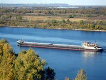 Barge. Bard sailing along the Volga River in Russia Royalty Free Stock Image