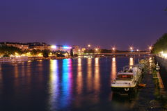 Barge. Lyon , france , night Royalty Free Stock Image
