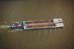 Barge from above Stock Images