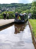 Barge approaching aquaduct stock photography
