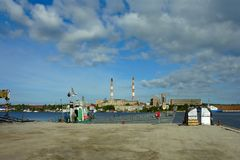 Barge berth of the Valaam monastery Royalty Free Stock Image