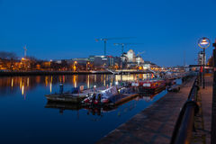 Barge berthed at the Liffey river Royalty Free Stock Photo