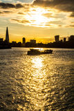 Barge boat on Thames River, London Royalty Free Stock Photography