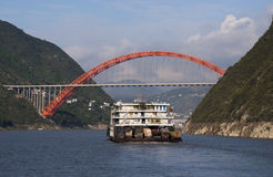 Barge and Bridge Yangtze River China Cruise Royalty Free Stock Images