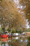 Barge on canal Royalty Free Stock Images