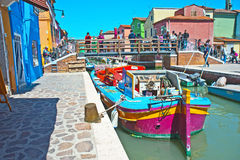 Barge on canal in Burano Royalty Free Stock Photos