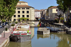 Barge on canal at Narbonne in France Stock Photos