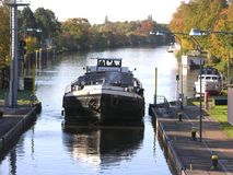 Barge in a canal in Oldenburg Stock Image