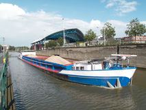 Barge on a canal transporting sand. The canal is a waterway connection between Brussels and Charleroi royalty free stock image