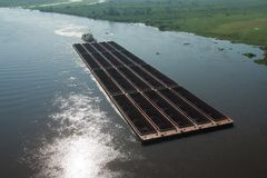 Barge carrying iron ore royalty free stock image