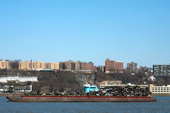 Barge Carrying Recycled Cars Royalty Free Stock Photography
