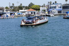 Barge with Cars Inside. Three Cars Inside of the Barge were on the way to transfer to balboa island Stock Images