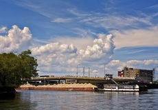 Barge, Chicago River, Illinois Royalty Free Stock Images