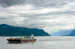 Barge in Columbia River royalty free stock images