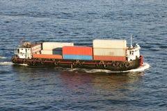 Barge-conteneur Photographie stock