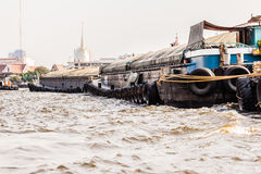 Barge convoy side Royalty Free Stock Image