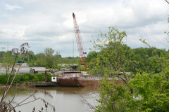 Barge and crane Royalty Free Stock Image