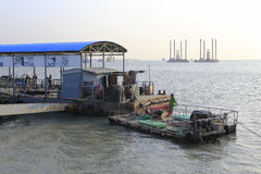 Barge of dadeng ferry terminal Stock Images