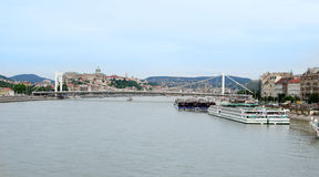 Barge on the Danube river in Budapest Royalty Free Stock Photo