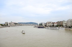 Barge on the Danube river in Budapest Royalty Free Stock Images